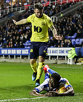 Blackburn Rovers' Adam Armstrong competing with Reading's Andy Yiadom  <br /> <br /> Photographer Andrew Kearns/CameraSport<br /> <br /> The EFL Sky Bet Championship - Reading v Blackburn Rovers - Wednesday 13th February 2019 - Madejski Stadium - Reading<br /> <br /> World Copyright © 2019 CameraSport. All rights reserved. 43 Linden Ave. Countesthorpe. Leicester. England. LE8 5PG - Tel: +44 (0) 116 277 4147 - admin@camerasport.com - www.camerasport.com