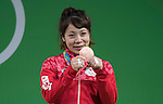 Hiromi Miyake (JPN), AUGUST 6, 2016 - Weightlifting : Bronze medalist Hiromi Miyake of Japan celebrares with her medal during the medal ceremony for the the Women's 48kg during the Rio 2016 Olympic Games at Riocentro Pavilion 2 in Rio de Janeiro, Brazil. (Photo by Enrico Calderoni/AFLO SPORT)