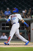 Vladimir Guerrero Jr. (47) of the Buffalo Bison follows through on his swing against the Charlotte Knights at BB&T BallPark on August 14, 2018 in Charlotte, North Carolina. The Bison defeated the Knights 14-5.  (Brian Westerholt/Four Seam Images)