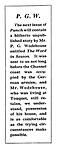 P.G.W (Notice regarding the P G Wodehouse)