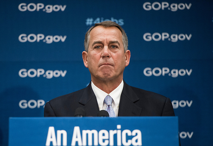UNITED STATES - FEBRUARY 4: Speaker of the House John Boehner, R-Ohio, addresses the media following the House Republican Conference meeting in the basement of the Capitol on Tuesday, Feb. 4, 2014. (Photo By Bill Clark/CQ Roll Call)