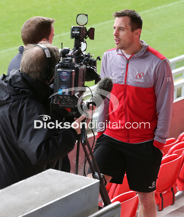 Tuesday 10th April 2018 | Ulster Rugby Media Conference<br /> <br /> Tommy Bowe during the Ulster Rugby Media Conference at Kingspan Stadium, Ravenhill Park, Belfast, Northern Ireland. Photo by John Dickson / DICKSONDIGITAL