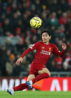 1st February 2020; Anfield, Liverpool, Merseyside, England; English Premier League Football, Liverpool versus Southampton; Takumi Minamino of Liverpool races after a pass over the Southampton defence