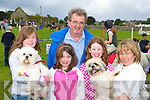 Roislin, Emer, Liam Hurley, Sarah Jennings and Sheila Hurley Callinafercy with their dogs Snutty and Ollie at the Killorglin Pony show on Sunday .
