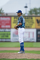Ogden Raptors starting pitcher Jose Chacin (26) prepares to deliver a pitch during a Pioneer League game against the Billings Mustangs at Lindquist Field on August 17, 2018 in Ogden, Utah. The Billings Mustangs defeated the Ogden Raptors by a score of 6-3. (Zachary Lucy/Four Seam Images)