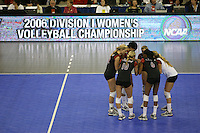 16 December 2006: Stanford Cardinal Kristin Richards, Erin Waller, Cynthia Barboza, Bryn Kehoe, Jessica Fishburn, and Franci Girard during Stanford's 30-27, 26-30, 28-30, 27-30 loss against the Nebraska Huskers in the 2006 NCAA Division I Women's Volleyball Final Four Championship match at the Qwest Center in Omaha, NE.
