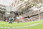 Stockholm 2015-07-16 Fotboll Kval Uefa Europa League  AIK - FC Shirak :  <br /> AIK:s Henok Goitom g&ouml;r 1-0 bakom FC Shiraks m&aring;lvakt goalkeeper Vsevolod Ermakov under matchen mellan AIK och FC Shirak <br /> (Foto: Kenta J&ouml;nsson) Nyckelord:  AIK Gnaget Tele2 Arena UEFA Europa League Kval Kvalmatch FC Shirak Armenien Armenia jubel gl&auml;dje lycka glad happy remote remotekamera m&aring;lkamera
