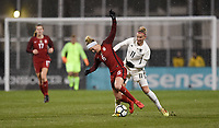 Columbus, Ohio - Thursday March 01, 2018: Morgan Brian, Alexandra Popp during a 2018 SheBelieves Cup match between the women's national teams of the United States (USA) and Germany (GER) at MAPFRE Stadium.