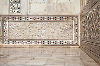 Agra, India.  Taj Mahal.  Floral Design on Engraved Marble Panel of the Mausoleum.