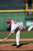 Ball State Cardinals relief pitcher Evan Korson (19) during a game against the Louisville Cardinals on February 19, 2017 at Spectrum Field in Clearwater, Florida.  Louisville defeated Ball State 10-4.  (Mike Janes/Four Seam Images)