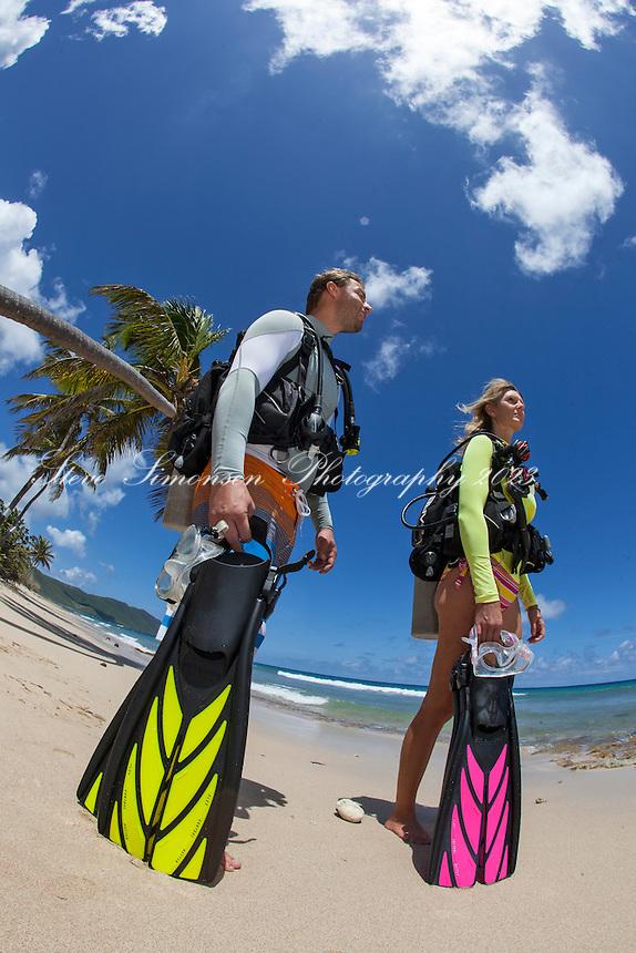 Tracey Gardner and Rodrigo Fass MR.Preparing for a beach dive.Twin Palms, Cane Bay.St. Croix.U.S. Virgin Islands