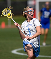 Laura Zimmerman (1) of North Carolina looks for a teammate during the ACC women's lacrosse tournament semifinals in College Park, MD.  North Carolina defeated Duke, 14-4.