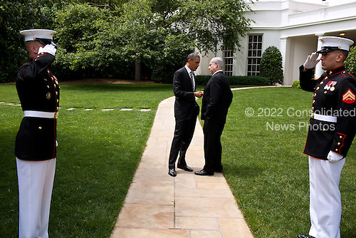 """May 20, 2011.""""The President talks with Prime Minister Benjamin Netanyahu of Israel as they walk from the Oval Office to the South Lawn drive of the White House following their meetings."""".Mandatory Credit: Pete Souza - White House via CNP"""