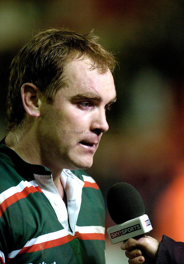 Photo: Leigh Quinnell..Leicester Tigers v NEC Harlequins. Guinness Premiership. 03/03/2007. Leicester's Andy Goode gives a post match interview.