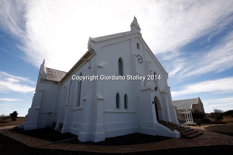 BRANDVLEI - 9 July 2014 - The Dutch Reformed Church in the isolated community of Brandvlei in the Northern Cape was built in 1905. The foundation-stone of this neo-Gothic church was laid on 15 July 1905 and the building was completed and inaugurated at the end of 1905. It was listed as a national monument in 1980. Picture: Allied Picture Press/APP
