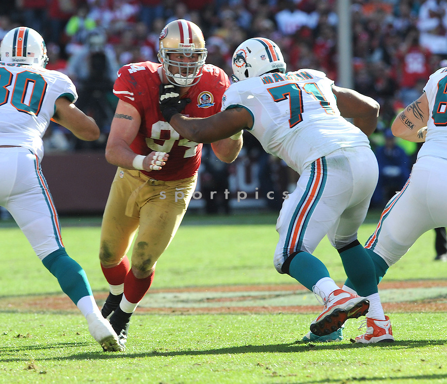 San Francisco 49ers Justin Smith (94) in action during a game against the Dolphins on December 9, 2012 at Candlestick Park in San Francisco, CA. The Dolphins beat the 49ers 27-13..