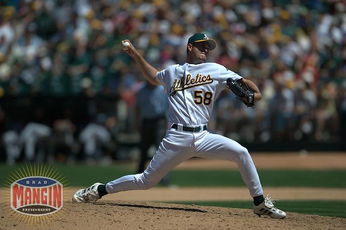 Justin Duchscherer. Baseball: Toronto Blue Jays vs Oakland Athletics. Oakland, CA 6/6/2004 MANDATORY CREDIT: Brad Mangin