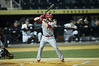 Austin Markmann (14) of the Sacred Heart Pioneers at bat against the Wake Forest Demon Deacons at David F. Couch Ballpark on February 15, 2019 in  Winston-Salem, North Carolina.  The Demon Deacons defeated the Pioneers 14-1. (Brian Westerholt/Four Seam Images)