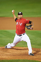 Erie SeaWolves relief pitcher Ruben Alaniz (19) during a game against the Richmond Flying Squirrels on August 22, 2016 at Jerry Uht Park in Erie, Pennsylvania.  Erie defeated Richmond 4-2.  (Mike Janes/Four Seam Images)