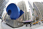 "Midtown Manhattan, New York City, landmarks and famous tourist attractions, seen through fisheye lens, on June 27, 2011. Radio City Music Hall and blue sculpture ""Cubed Curve"" by William Crovello, in front of the Time & Life Building Plaza at 1271 Avenue Of The Americas (6th Avenue) in Rockefeller Center."