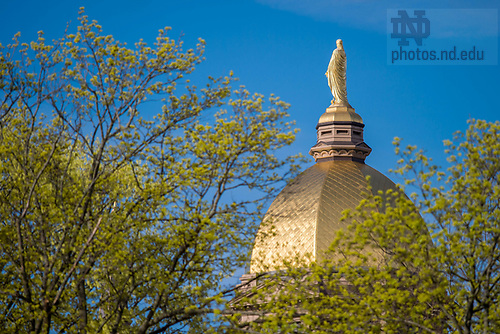 April 18, 2017; Main Building in spring (Photo by Matt Cashore/University of Notre Dame)