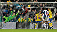 Leeds United's Bailey Peacock-Farrell saves well to prevent West Bromwich Albion going further ahead<br /> <br /> Photographer David Shipman/CameraSport<br /> <br /> The EFL Sky Bet Championship - West Bromwich Albion v Leeds United - Saturday 10th November 2018 - The Hawthorns - West Bromwich<br /> <br /> World Copyright &copy; 2018 CameraSport. All rights reserved. 43 Linden Ave. Countesthorpe. Leicester. England. LE8 5PG - Tel: +44 (0) 116 277 4147 - admin@camerasport.com - www.camerasport.com
