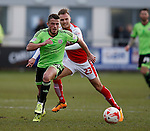 Florent Cuvelier of Sheffield Utd gets in front of David Ball of Fleetwood Town  - English League One - Fleetwood Town vs Sheffield Utd - Highbury Stadium - Fleetwood - England - 5rd March 2016 - Picture Simon Bellis/Sportimage