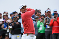 Justin Rose (GBR) watches his tee shot on 9 during round 1 of the 2019 US Open, Pebble Beach Golf Links, Monterrey, California, USA. 6/13/2019.<br /> Picture: Golffile | Ken Murray<br /> <br /> All photo usage must carry mandatory copyright credit (© Golffile | Ken Murray)