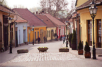 The Tokaj village: the main street with its colourful houses in blue yellow red and street light lamp posts . The small village called Tokaj is where the two rivers Bodrog and Tisza joins. It is much visited by tourists. the centre has been beautifully restored. Credit Per Karlsson BKWine.com