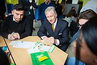 le Roi Philippe de Belgique participe &agrave; un jeu de r&ocirc;le avec des jeunes lors d'une visite au Coll&egrave;ge Roi Baudoin &agrave; Bruxelles, dans le cadre du projet Story-me. Story-me est un projet pilote, co-construit par 8 acteurs philanthropiques et 8 associations,<br /> Belgique, Bruxelles, 12 mars 2019.<br /> King Philippe of Belgium pictured during a visit to the Story-me project at the College Roi Baudouin in Brussels.<br /> Belgium, Brussels, 12 March 2019.