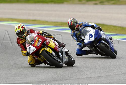 WERNER DAEMEN (BEL), Honda, Supersport World Championship Race, Ricardo Tormo Circuit, Valencia 030302 Photo:Neil Tingle/Action Plus...2003 .man men superbikes motorcycle motorcycles bike bikes .       ..  ..