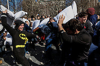 Revellers take part during the annual Pillow Fight in Washington Square Park in, New York. 04.04.2015. Kena Betancur/VIEWpress.