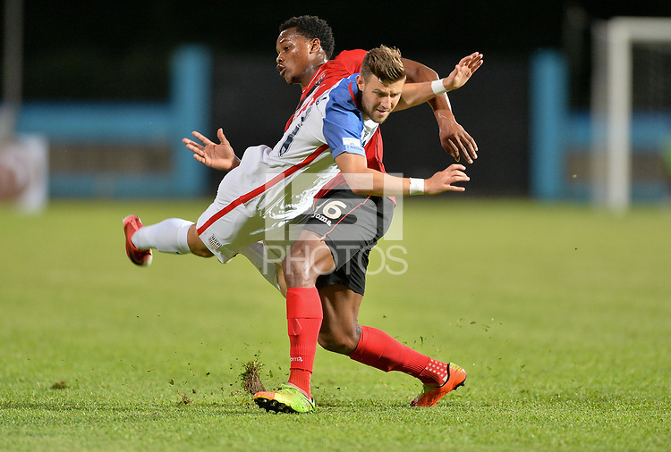 Couva, Trinidad & Tobago - Tuesday Oct. 10, 2017: Paul Arriola, Levi García during a 2018 FIFA World Cup Qualifier between the men's national teams of the United States (USA) and Trinidad & Tobago (TRI) at Ato Boldon Stadium.