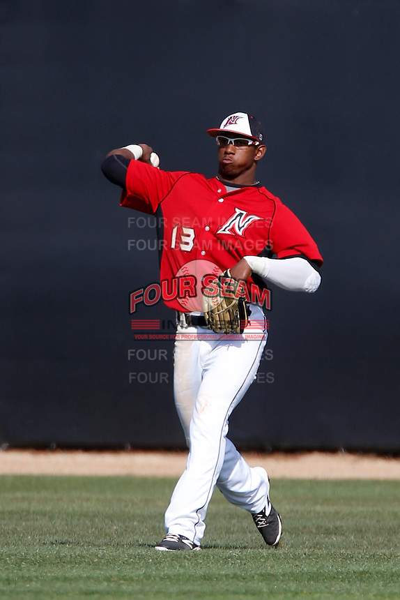 Miles Williams #13 of the Cal State Northridge Matadors during a game against the University of San Diego Toreros at Matador Field on March 26, 2013 in Northridge, California. (Larry Goren/Four Seam Images)