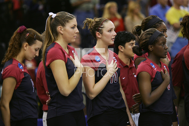 18 December 2004: Stanford Cardinal players Jennifer Wilson, Liz Suiter, Kristin Richards and Njideka Nnamani during Stanford's  30-23, 30-27, 30-21 victory over Minnesota in the 2004 NCAA Women's Volleyball National Championships in Long Beach, CA. Stanford won their sixth women's volleyball title in school history.<br />