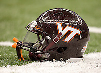 Virginia Tech helmet is pictured on the field during Sugar Bowl game at Mercedes-Benz SuperDome in New Orleans, Louisiana on January 3rd, 2012.  Michigan defeated Virginia Tech, 23-20 in first overtime.