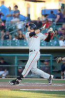Jonah Arenado (7) of the San Jose Giants bats against the Lancaster JetHawks during the second game of a doubleheader at The Hanger on July 14, 2016 in Lancaster, California. Lancaster defeated San Jose, 3-0. (Larry Goren/Four Seam Images)