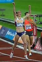 Laura WEIGHTMAN of GBR celebrates winning the 1500m during the Sainsburys Anniversary Games at the Olympic Park, London, England on 24 July 2015. Photo by Andy Rowland.