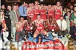 Tralee Tigers after winning the Budweiser SuperLeague in 1996 at the Sports Complex. Front row l-r: Emmanuel Haastrophe, Nigel Palmer, Maurice Casey (Captain), Ricardo Leonard, Timmy Herlihy (Asst Coach). Back row l-r: Ger Carey (Asst Coach), Timmy McCarthy (Coach), Kieran Fitzgerald, Vinny Murphy, Gerry Galgey, John Teahan and Kieran O'Sullivan.