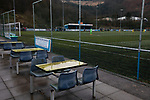 The deserted refreshment area pictured during the second-half as Cambrian and Clydach Vale (in blue) take on Cwmbran Celtic at King George's New Field in a Welsh League Division One match, the top division of the Welsh Football League and the second level of the Welsh football league system. The club, formed in 1965 reached the final of the 2018-19 League Cup final and can count on ex-England manager Terry Venables as a former club chairman. Cambrian and Clydach Vale won this match 2-0, watch by a crowd of around 100 spectators.