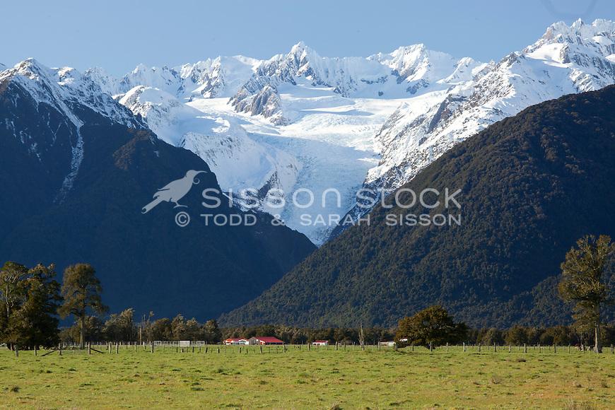 Farmland and farm buildings, Fox Glacier on the West Coast, South Island, New Zealand