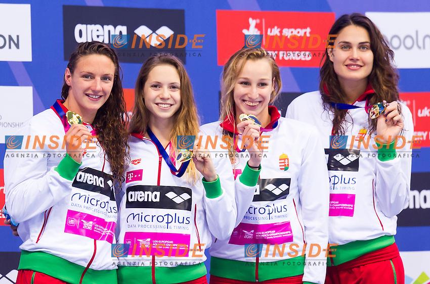 Team HUNGARY gold medal<br /> London, Queen Elizabeth II Olympic Park Pool <br /> LEN 2016 European Aquatics Elite Championships <br /> Swimming<br /> Women's 4x200m freestyle final  <br /> Day 11 19-05-2016<br /> Photo Giorgio Perottino/Deepbluemedia/Insidefoto