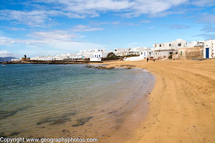 Lanzarote, Canary Islands, Spain Playa La Laja sandy beach, Caleta de Sebo village, La Isla Graciosa, Lanzarote, Canary Islands, Spain