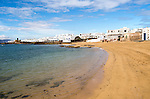 Lanzarote, Canary Islands, Spain Playa La Laja sandy beach, Caleta de Sebo village, La Isla Graciosa, Lanzarote, Canary Islands, Spain