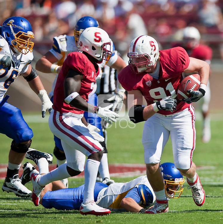 Stanford, CA - September 3, 2011: Stanford Cardinal defensive end Henry Anderson (91) during the game between Stanford Cardinal and San Jose State Spartans at Stanford Stadium in Stanford, California. Final score Stanford Cardinal 57, San Jose State Spartans 3.