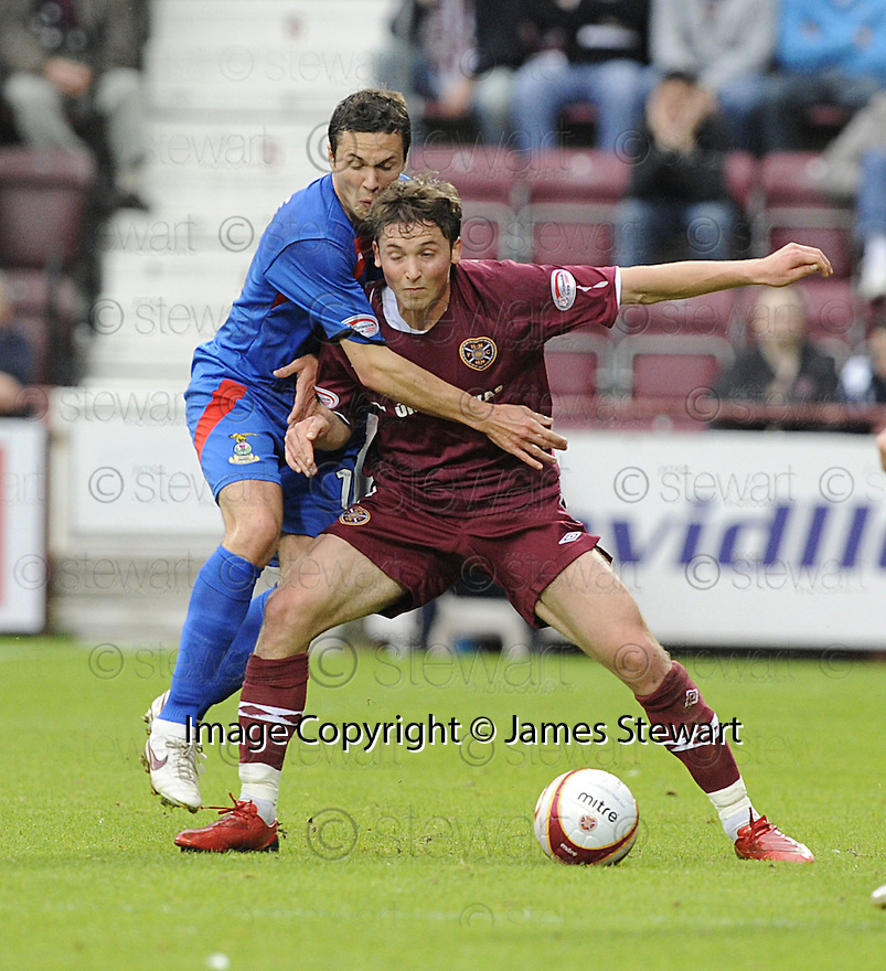20/09/2008  Copyright Pic: James Stewart.File Name : sct_jspa04_hearts_v_ict.SAULIUS MIKOLIUNAS HOLDS OFF DON COWIE.James Stewart Photo Agency 19 Carronlea Drive, Falkirk. FK2 8DN      Vat Reg No. 607 6932 25.James Stewart Photo Agency 19 Carronlea Drive, Falkirk. FK2 8DN      Vat Reg No. 607 6932 25.Studio      : +44 (0)1324 611191 .Mobile      : +44 (0)7721 416997.E-mail  :  jim@jspa.co.uk.If you require further information then contact Jim Stewart on any of the numbers above........
