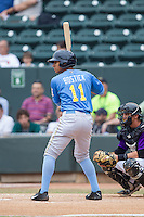 Christopher Bostick (11) of the Myrtle Beach Pelicans at bat against the Winston-Salem Dash at BB&T Ballpark on May 7, 2014 in Winston-Salem, North Carolina.  The Pelicans defeated the Dash 5-4 in 11 innings.  (Brian Westerholt/Four Seam Images)