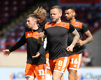 Blackpool's Jay Spearing during the pre-match warm-up <br /> <br /> Photographer David Shipman/CameraSport<br /> <br /> The EFL Sky Bet League One - Scunthorpe United v Blackpool - Friday 19th April 2019 - Glanford Park - Scunthorpe<br /> <br /> World Copyright © 2019 CameraSport. All rights reserved. 43 Linden Ave. Countesthorpe. Leicester. England. LE8 5PG - Tel: +44 (0) 116 277 4147 - admin@camerasport.com - www.camerasport.com
