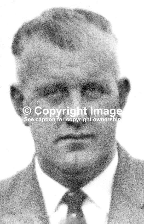 Constable Cecil Cunningham, RUC, 46 years, married, from Belfast, N Ireland, who along with a fellow officer, Constable John Haslett, 21 years, single, also Belfast, were shot dead on 15th October 1971. They were engaged in surveillance duty in an unmarked car at the junction of Twadell Avenue and Woodvale Road in North Belfast when their vehicle was struck by gunfire. The attack was carried out by the Provisional IRA. 197110150399CC.<br /> <br /> Copyright Image from Victor Patterson, 54 Dorchester Park, Belfast, UK, BT9 6RJ<br /> <br /> t1: +44 28 9066 1296 (from Rep of Ireland 048 9066 1296)<br /> t2: +44 28 9002 2446 (from Rep of Ireland 048 9002 2446)<br /> m: +44 7802 353836<br /> <br /> e1: victorpatterson@me.com<br /> e2: victorpatterson@gmail.com<br /> <br /> The use of my copyright images is subject to my Terms &amp; Conditions.<br /> <br /> It is IMPORTANT that you familiarise yourself with them. They are available on my website at www.victorpatterson.com.<br /> <br /> None of my copyright images may be used on a website unless they are visibly watermarked, i.e. &copy; Victor Patterson within the body of the visible image. Metadata denoting my copyright must NOT be deleted. <br /> <br /> Web use is extra at currently recommended NUJ rates.