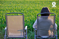 Woman on chair facing green wheat field at sunset (Licence this image exclusively with Getty: http://www.gettyimages.com/detail/81867334 )